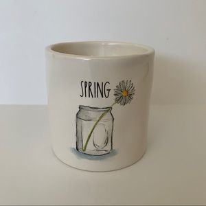 Rae Dunn white SPRING candle, vase/flower graphic